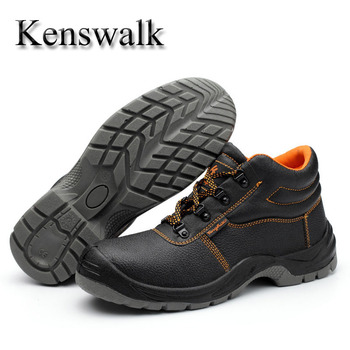 Kenswalk Male  Casual  Non Slip TPU Outsole Safety Ankle Boots steel toe Shoes Winter Fur Warm Snow Boots For Men Work Sneakers botínes punta de acero