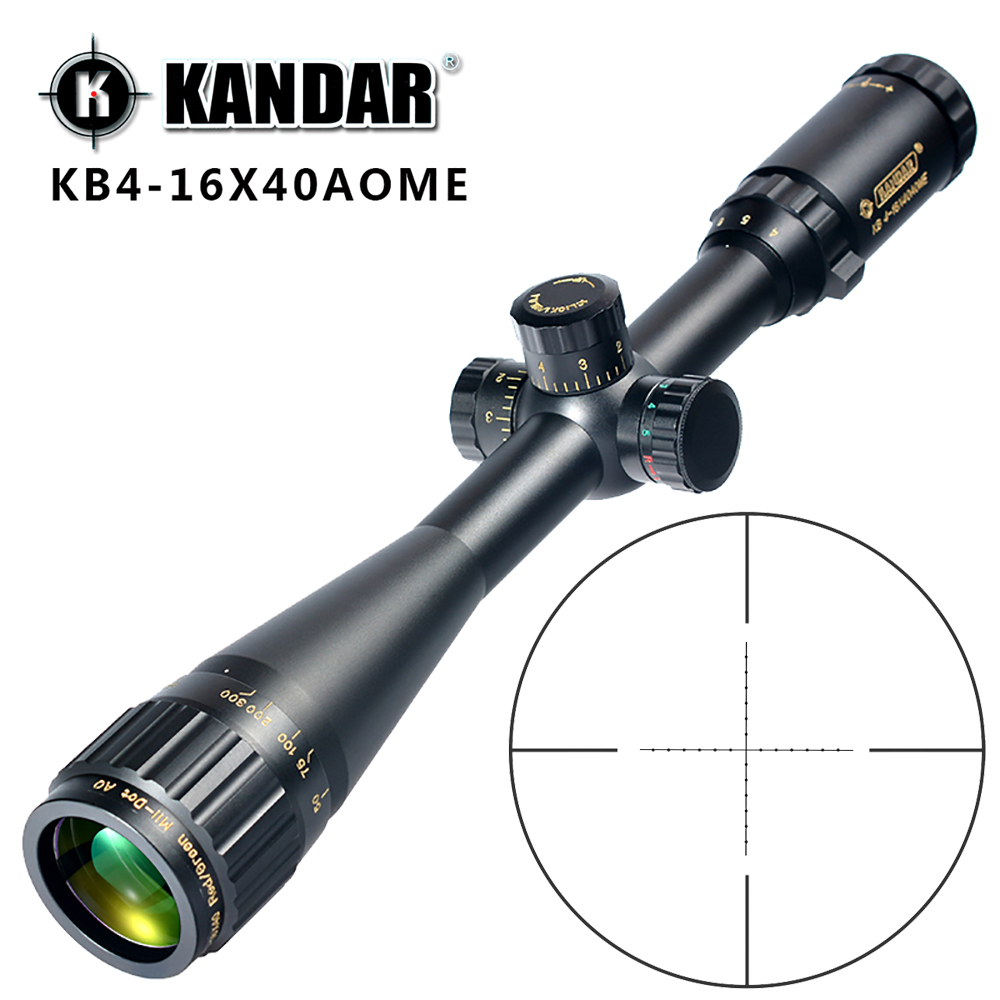 KANDAR Gold Edition 4 16x40 AOME Glass Etched Mil dot Reticle Locking RifleScope Hunting Rifle Scope