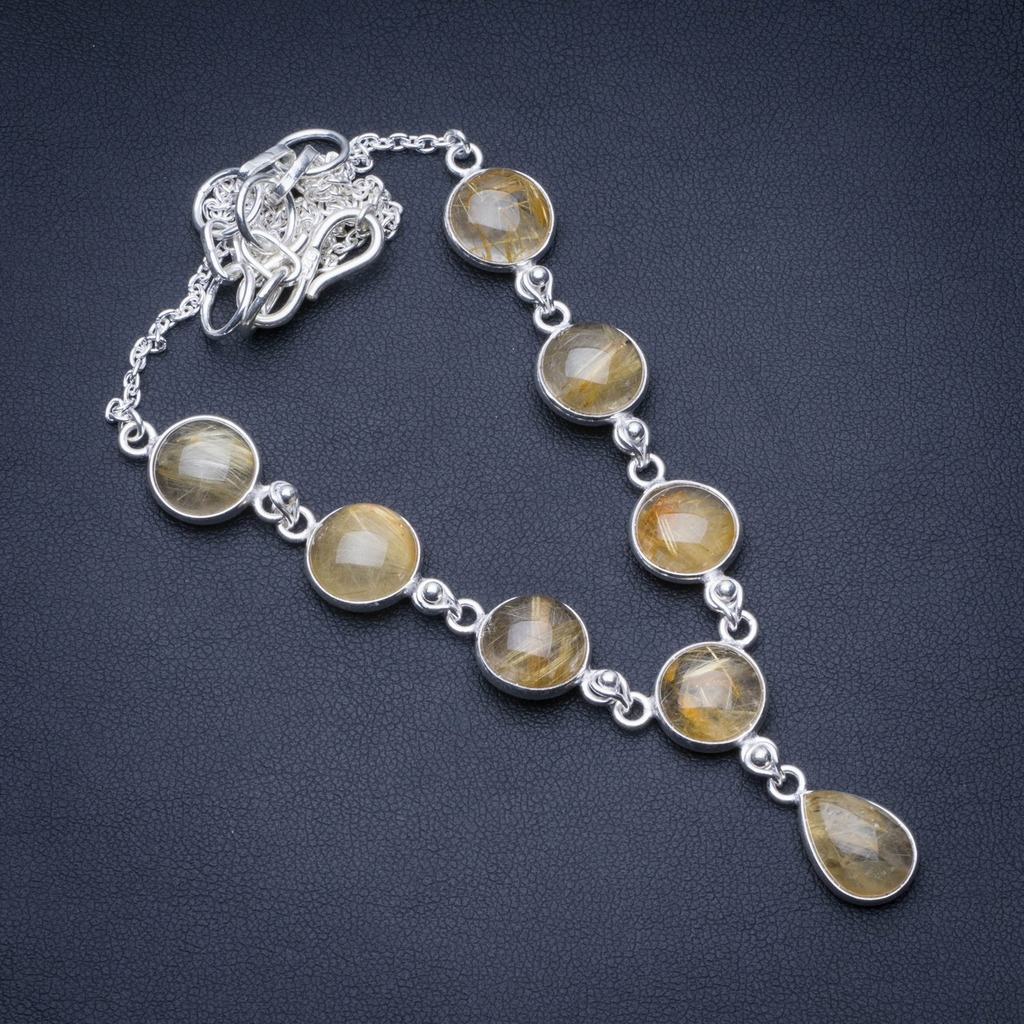 Natural Rutilated Quartz 925 Sterling Silver Y-Shaped Necklace 18 1/2 R2722Natural Rutilated Quartz 925 Sterling Silver Y-Shaped Necklace 18 1/2 R2722