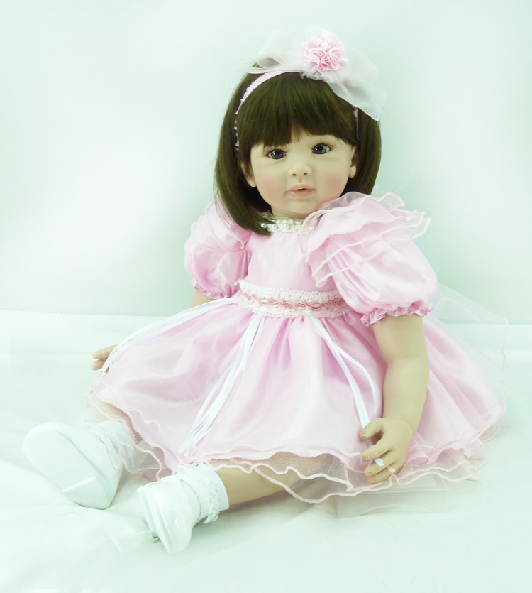 60cm Soft Silicone Vinyl Reborn Baby Doll Toy Girls Bonecas Brinquedos 24inch Lovely Princess Toddler Babies Doll Play House Toy 40cm silicone reborn baby doll toy 16inch newborn princess girls babies dolls birthday xmas gift girls bonecas play house toy