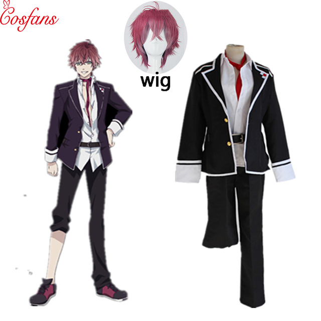 Anime Diabolik Lovers Sakamaki Ayato Cosplay Costume School Uniforms Halloween Party Wear Outfit Blazer Pants Tie Belt and wig