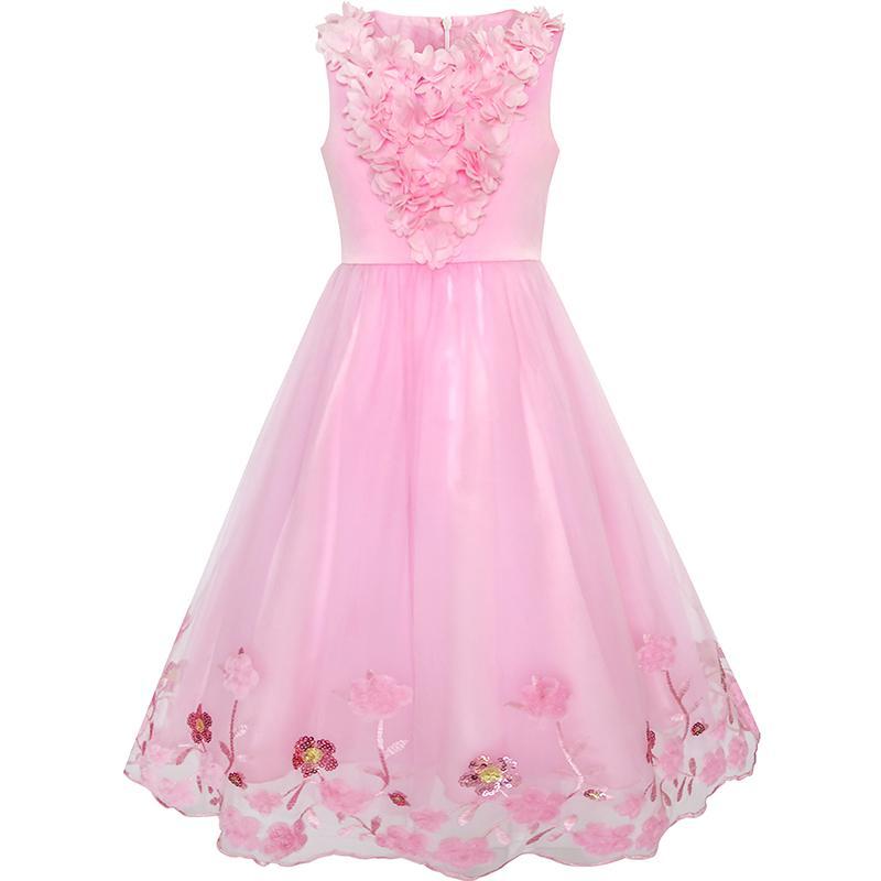 Flower Girls Dress Sequin Dimensional Flowers Pageant Party 2018 Summer Princess Wedding Dresses Girl Clothes Size 4-14 Sundress