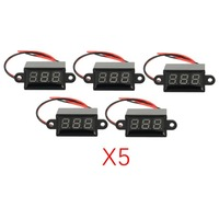 5PCS 3V 30V 2 Wire LED Digital Display Panel Voltmeter Electric Voltage Meter Volt Tester for Auto Car Motorcycle Battery Cart