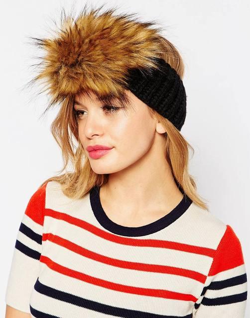 dacb48c5572 Winter Fashion Knitted Faux Fur Trim Elastic Hairband Ear Warmer Hat Women  Casual Fur Hat