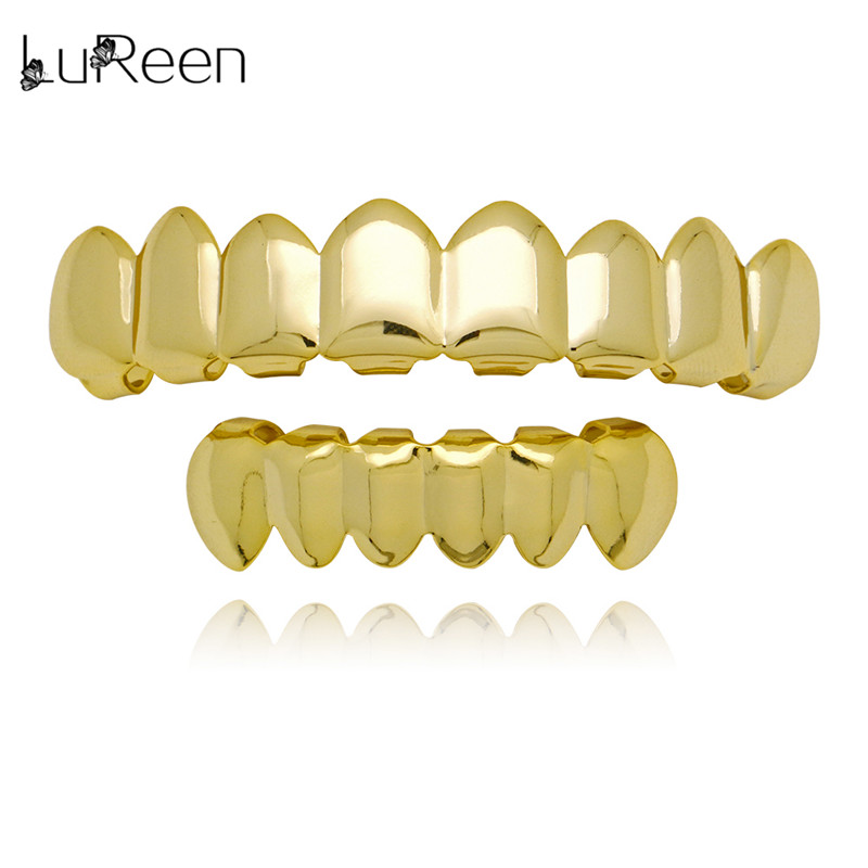 LuReen Gold Teeth Grillz Top & Bottom Grills Tandheelkundige Hiphop Tand Halloween Vampire Tanden Caps Cosply Lichaam Sieraden XHYT1014