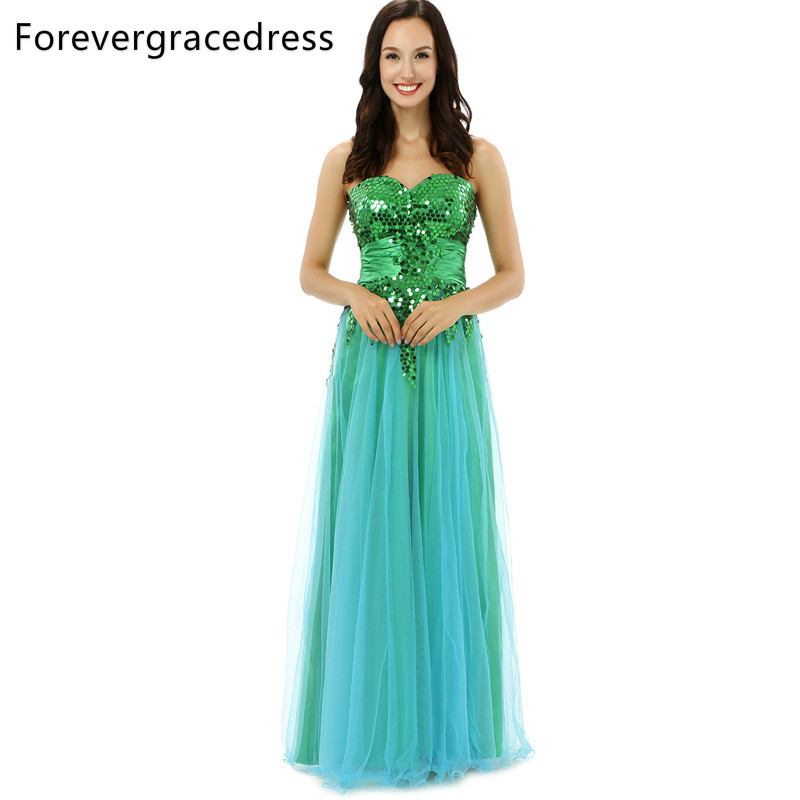 Forevergracedress Original Pictures Unique Prom Dress Sweetheart Tulle Sequins Sleeveless Long Formal Party Gown Plus Size