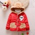 1-4 Anos de Idade Do Bebê Engrossar Casaco de Inverno Encantador Dos Desenhos Animados Panda Jaqueta com Cap Crianças Roupas Vermelhas + Azul + amarelo