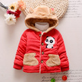 1-4 Years Old  Baby Winter Thicken  Coat  Lovely Cartoon Panda Jacket with Cap Kids Clothes Red +Blue+ Yellow