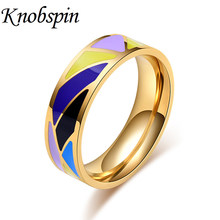 Vintage Geometric Colorful Enamel Ring for Women High Quality Wedding Band Jewelry for Anniversary Engagement bague femme(China)