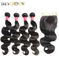 Devotion Hair Peruvian Hair Body Wave 4 Bundles with Lace Closure Free Part Human Hair Weave Bundles with Closure Non Remy Hair