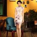 Top Quality Women's Cheongsam Silk Retro Chinese Style Qipao Traditional Evening Dress Short Cheongsam China Daily Dress
