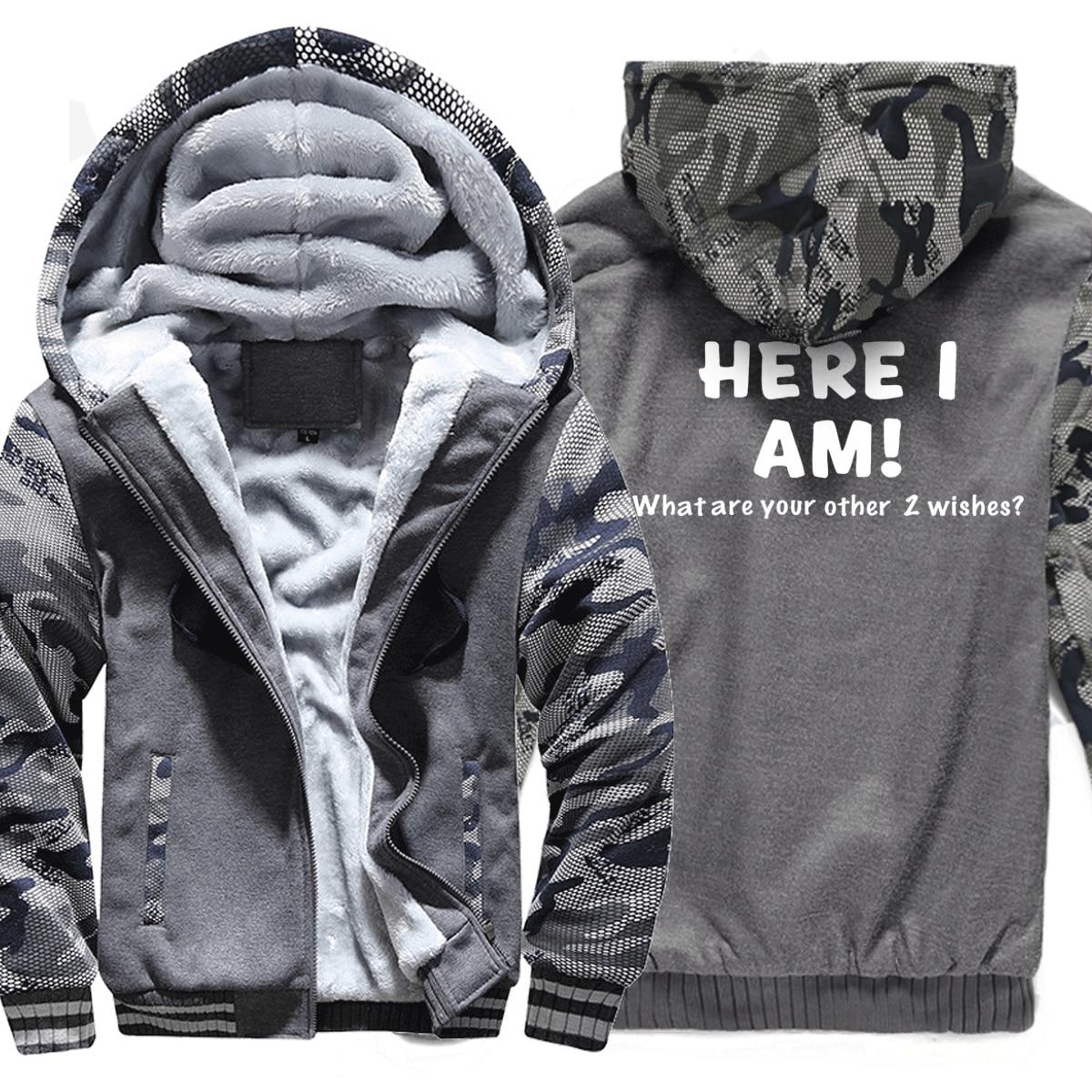 Sweatshirts Men Print HERE I AM Hoody 2019 Hot Sale Winter Thick Hoodie Brand Camouflage Sweatshirt Tracksuit Hipster