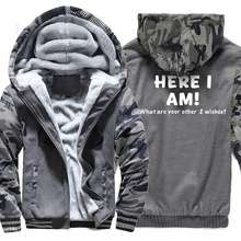 Sweatshirts Men Print HERE I AM Hoody 2019 Hot Sale Winter Thick Hoodie Brand Camouflage Sweatshirt Tracksuit Hipster