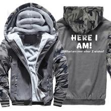 Sweatshirts Men Print HERE I AM Hoody 2019 Hot Sale Winter Thick Hoodie Brand Camouflage Sweatshirt Tracksuit Hipster Hot Sale hot sale brand 100