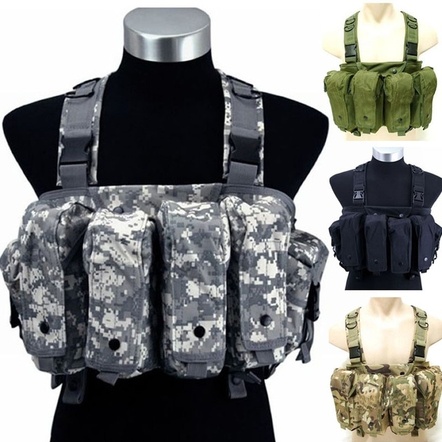 Military Camouflage Tactical Vest Airsoft Ammo Chest Rig AK 47 Magazine  Carrier Combat d0d85db1223