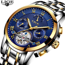 Mens Watches LIGE Top Brand Luxury Men's Fashion Business Watch Men's Tourbillon Mechanical Watches Men Waterproof Gift Clock mechanical watch men top fashion brand burei hour sapphire genuine leather business males clock waterproof watches hot sale gift