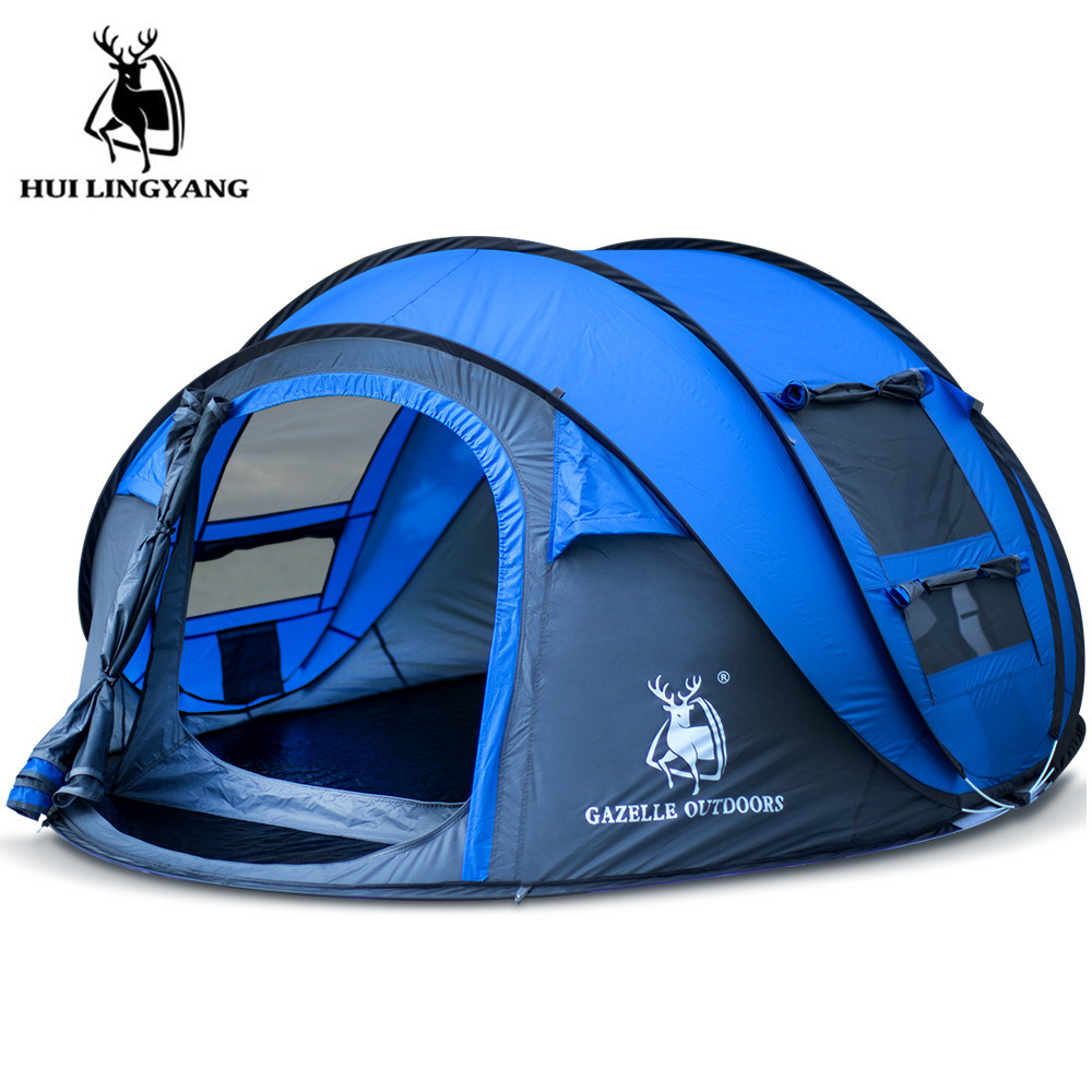 New style throw tent outdoor 3 4 persons automatic speed open throwing pop up windproof waterproof beach camping tent large spa in Tents from Sports Entertainment