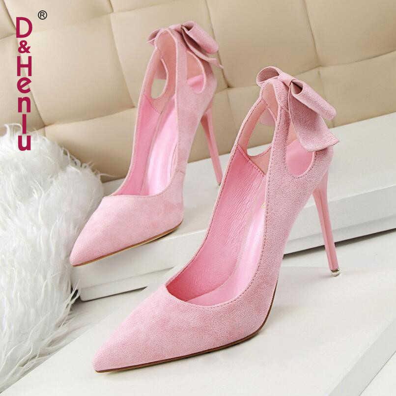 D Henlu  Brand Shoes Bow Woman High Heels Women Pumps Hollow Stiletto Thin Heel  Pointed 69009bfedb1d