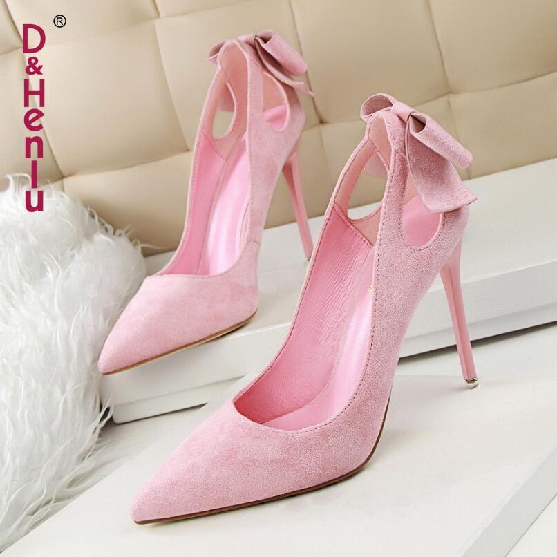 {D&Henlu} Brand Shoes Bow Woman High Heels Women Pumps Hollow Stiletto Thin Heel Pointed Toe High Heels Wedding Shoes Woman
