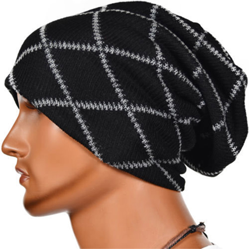 Hot 2018 New Winter Unisex Men s Knitting Crochet Beanie Hat Fashion  Striped Hip Hop Caps Knitted Slouchy Oversized Beanies-in Skullies   Beanies  from ... 078853668e1