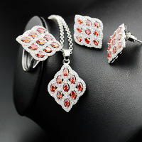 Silver 925 Jewelry Sets For Women Bridal Decorations Colorful Zircon Necklace Pendant Earrings Rings Bracelet the Nereids Sets