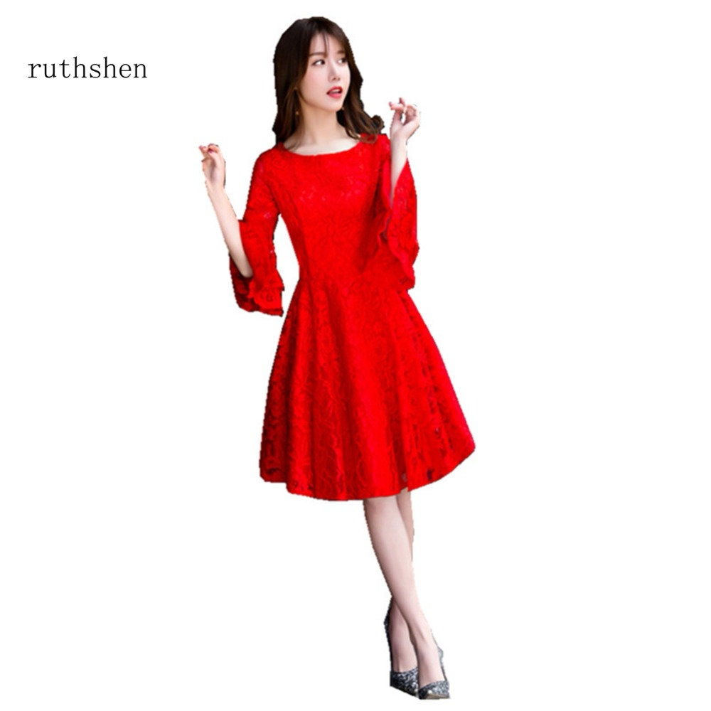 ruthshen Sexy Zipper Back Short   Cocktail     Dresses   With Long Sleeves Lace Party   Dress   Vestido Formal Party   Dress   For Special 2018