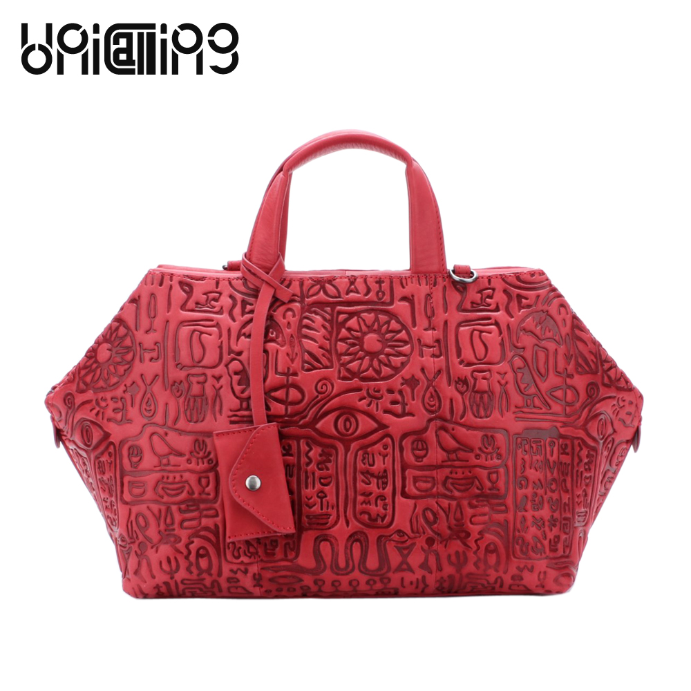 UniCalling women handbag genuine leather fashion women shoulder bag hieroglyphic pattern cow leather women bag 100% genuine leather make cow leather handbag shoulder bag shell bag middle aged women suitable for life shopping the best gift