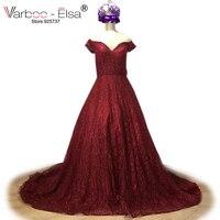 VARBOO ELSA Vestido De Festa 2018 New Red Glitter Evening Dresses Long Sweetheart Off Shoulder Prom