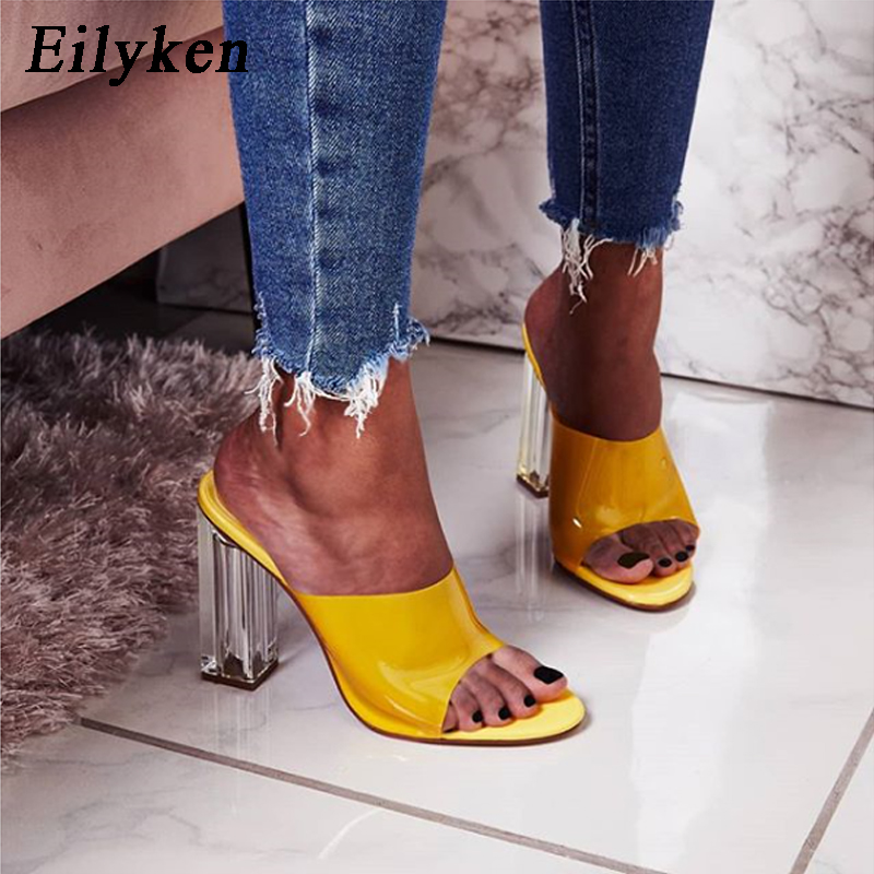 Eilyken Plus Size 35-42 PVC Transparent High Heels Crystal Women Slippers Peep Toe Yellow Purple Summer Ladies Slippers