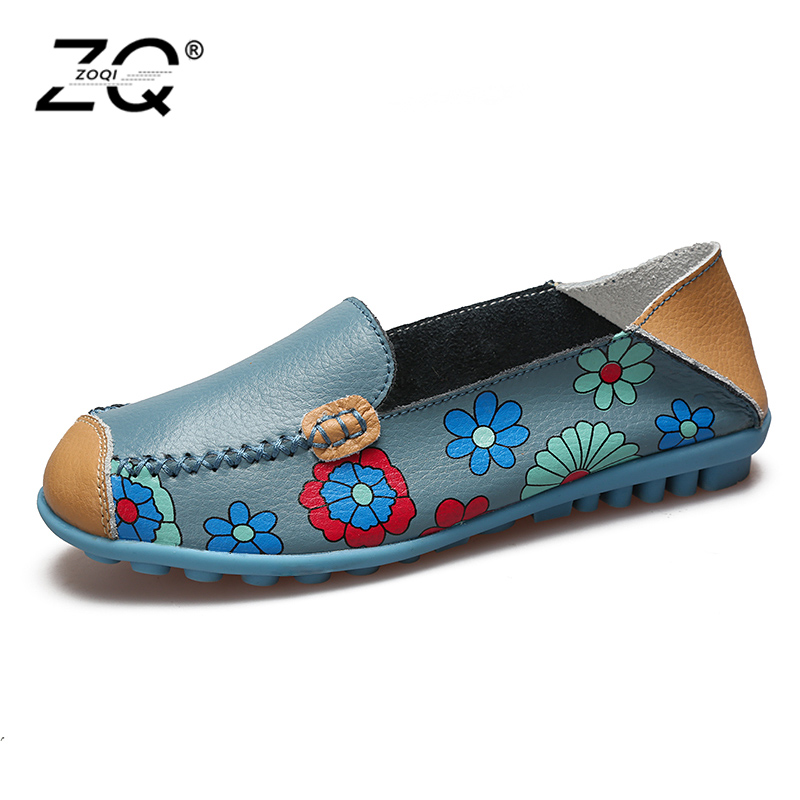 ZOQI Shoes Woman Candy Colors Genuine Leather Women Casual Shoes 2018Fashion Breathable Slip-on Peas Massage Flat Shoes size 44 swyivy women sneakers light weight 2018 41 woman casual shoes slip on lazy shoes comfortable candy color breathable net shoe