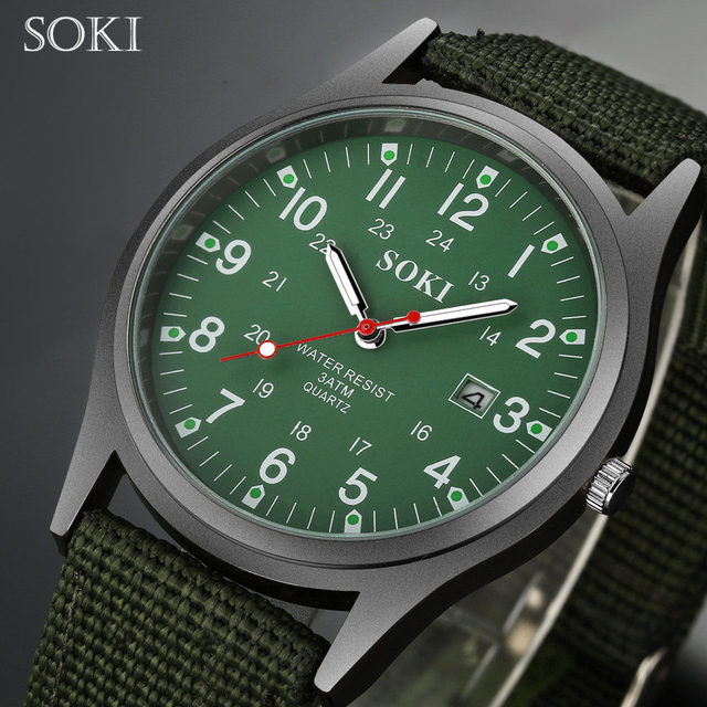 SOKI  Fashion Sport Outdoor Men's Date Quartz Analog WristWatch Military Sports Nylon Strap Unisex Army Style Watch Homme Relojo