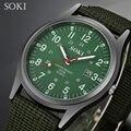 Soki data quartz analógico relógio de pulso do esporte da forma dos homens ao ar livre esportes cinta de nylon unisex exército estilo militar relógio homme relojo
