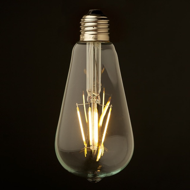 Dimmable,4W 6W,LED Filament Bulb,Edison ST64 Style,110V-130V 220V-240V AV,E26 E27 Base,LED Lamp