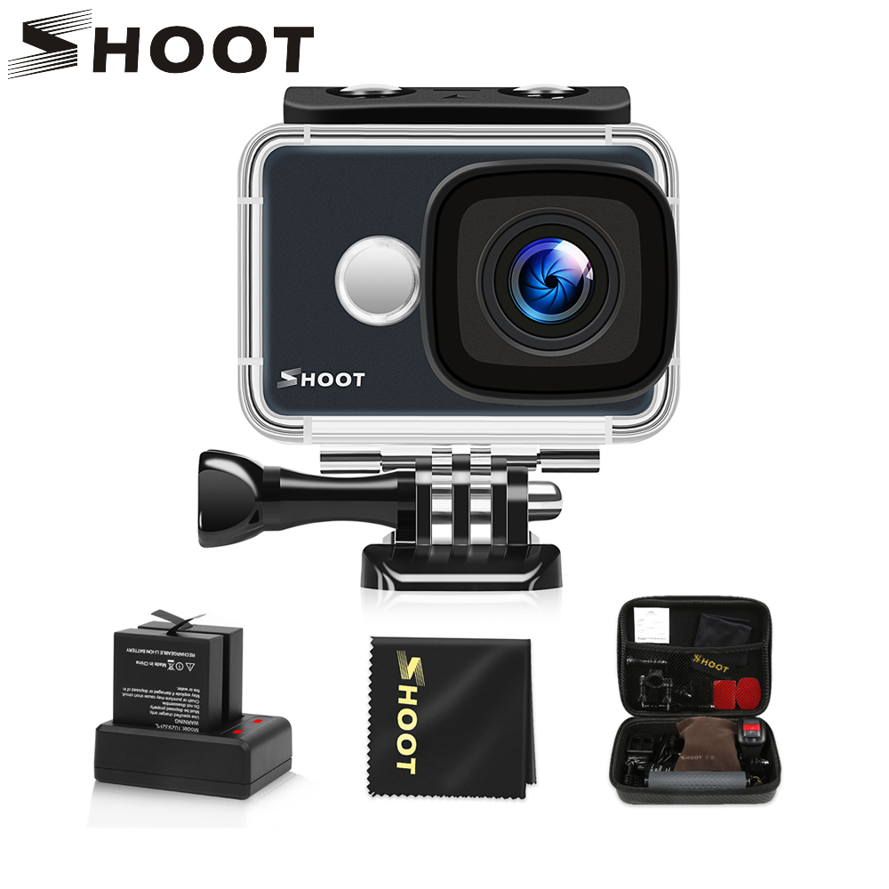 SHOOT 4K Action Camera WiFi Ultra HD 14MP 1080P/60FPS Waterproof Sport Camera with 170 Wide Angle Lens Accessory Set For Go Pro 2017 arrival original eken action camera h9 h9r 4k sport camera with remote hd wifi 1080p 30fps go waterproof pro actoin cam