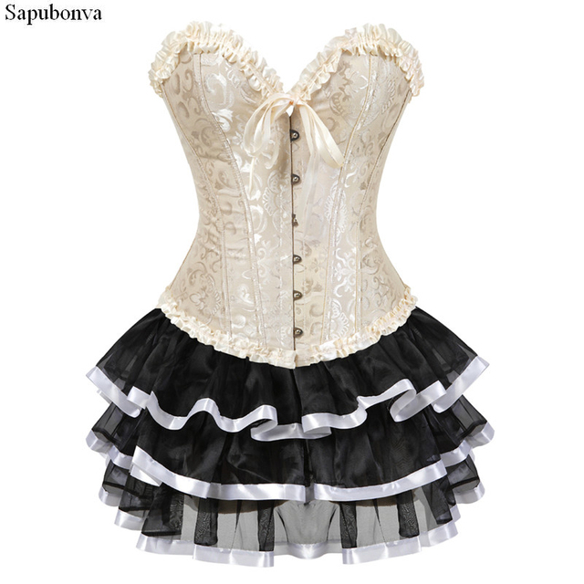 Sapubonva corset plus size victorian corset lolita dresses brocade overbust  bustier corsets dress with skirt tutu vintage gowns e1b86fcd519a