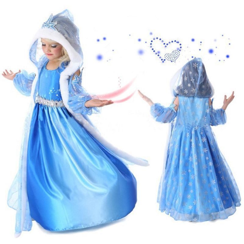 2018 girls dress Summer Kids Girls Dress Girl's Elsa Anna Dress Princess cosplay Party Dresses Baby Kids Clothes girls Clothing girls dresses trolls poppy cosplay costume dress for girl poppy dress streetwear halloween clothes kids fancy dresses trolls wig