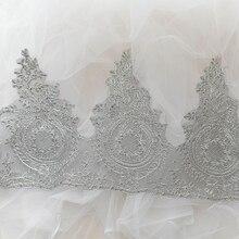 2Yards Car Bone Lace Edge Trim Wedding Bridal Ribbon Dress Veil Applique Sewing DIY Silver Gold Mesh Fabric 28cm