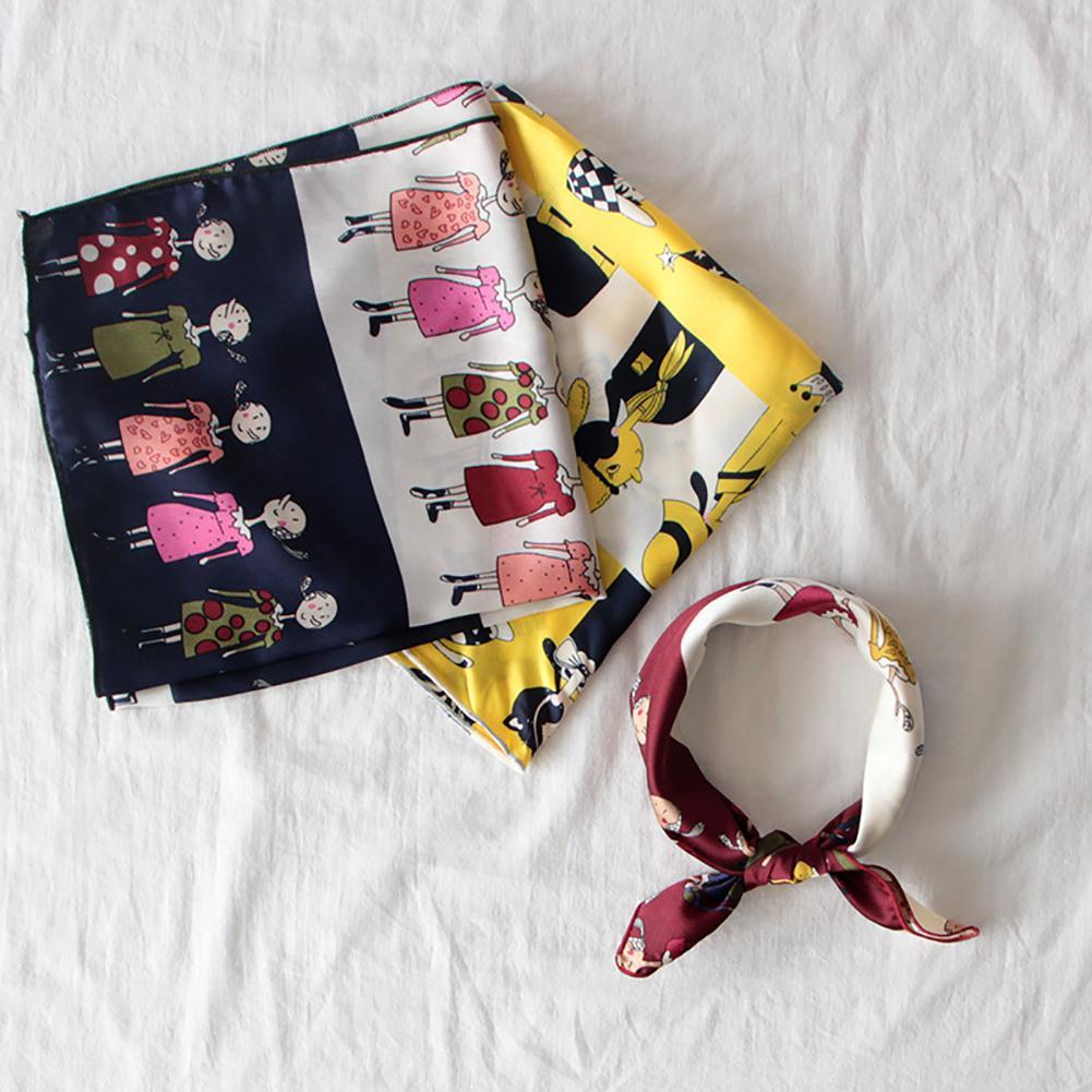 Women Multicolor Square Head Scarf Shawl Wrap Feather Stripe Dot Handkerchief