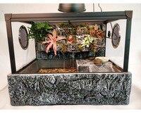 Vivarium Paludarium аквариумная черепаха танк с фоном UVA свет греющая платформа тропический лес комплект с кирпичным узором база