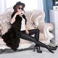 Natural Real de piel de Zorro Chalecos mujeres chaquetas de invierno de la manera floja sin mangas Genuino fourrure natural abrigos de piel prendas de Vestir Exteriores Femenina