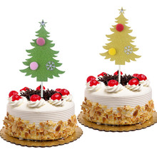 Christmas Tree Cake Toppers With Snow Star and Ball Gold Green Glitter Paper Board Flag Xmas New Year Party Decor