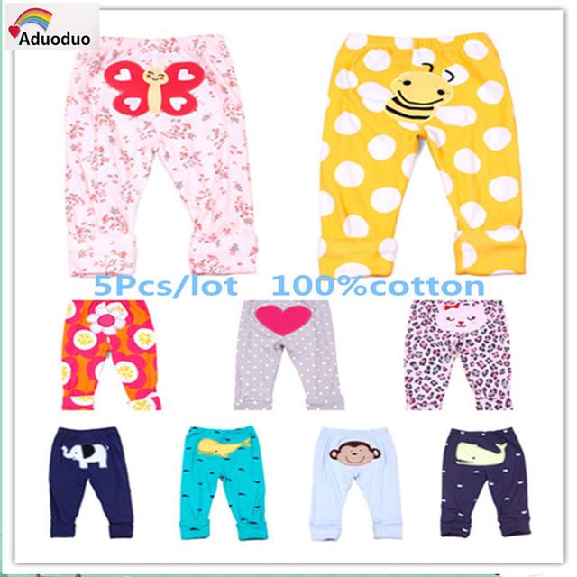 2015 primavera outono calças do bebê meninas meninos carte 5 pçs/lote animais bordados de algodão calças infantis produtos para bebés