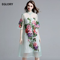 New Brand Traditional Chinese Qipao Women Summer Dress Plus Size Woman Organza Embroidery Half Sleeve Mid Calf Dress 50s 60s 2XL
