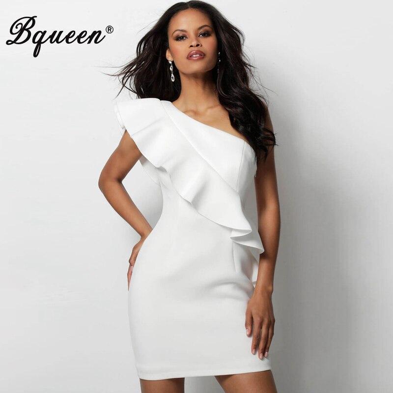 Bqueen femmes Bandage robe une épaule mode volants solide dame robe Vestidos 2019 nouvelle mode Mini robes de fête