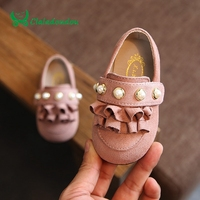 Claladoudou 12 14CM Baby Shoes Pink Suede Cute Lace Kids Girls Walker Princess Pearls Green Infant