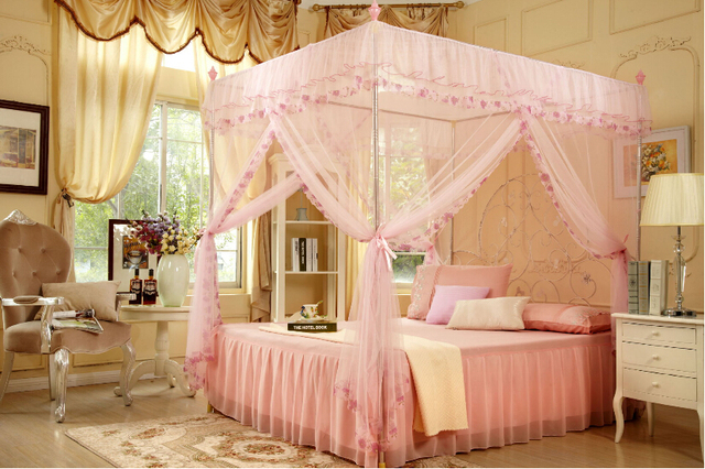 Bed Canopy 4 Corner Bug Insect Mosquito Net Fly Netting Mesh Beds Canapy Bedroom Curtain Bed & Bed Canopy 4 Corner Bug Insect Mosquito Net Fly Netting Mesh Beds ...
