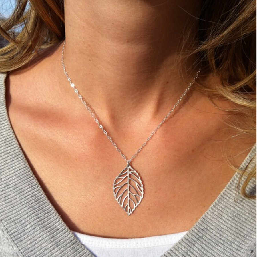 Ahmed Jewelry 2017 New Gold And Sliver Two Leaf Pendants Necklace Chain multi layer statement necklaces Woman Gift  SALE 50