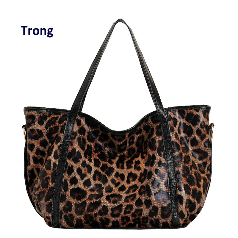 36ac001f42 Trong women s large genuine leather leopard handbag classic fashion  printing top-handle tote shoulder bag