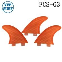 Surfing FCS Fins G3 Size Honeycomb Fibreglass Fin Orange/Green color Surf Quilhas FCS G3 Surf Fins surfing fcs fins g3 size honeycomb fibreglass fin white color surf quilhas fcs g3 surf fins