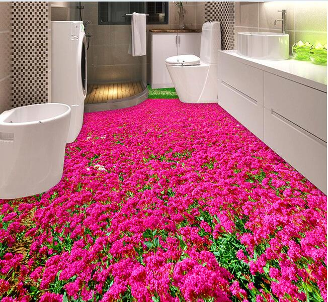 3d pvc flooring custom waterproof self adhesion Beautiful flowers and the 3d bathroom flooring photo 3d wall murals wallpaper 3d valley cliff waterfall sea dolphin bathroom walkway 3d floor 3d pvc wallpaper 3d flooring